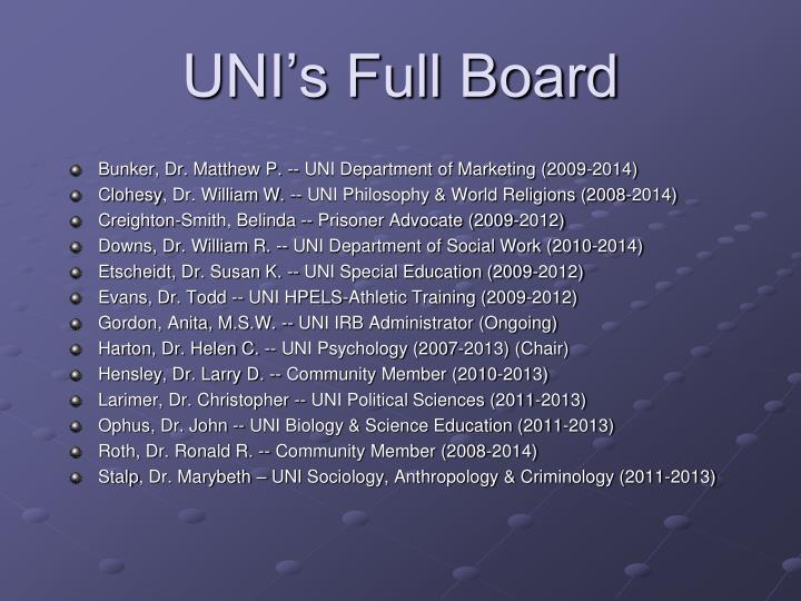 UNI's Full Board