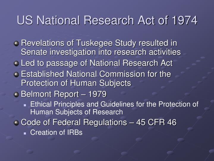 US National Research Act of 1974