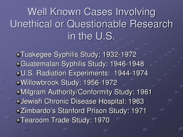 Well Known Cases Involving Unethical or Questionable Research in the U.S.