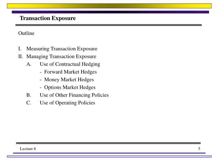 translation transaction and operating exposures essay Transaction and translation exposure in  it may be the only means available for reducing transaction exposure translation  to hedging translation exposures:.