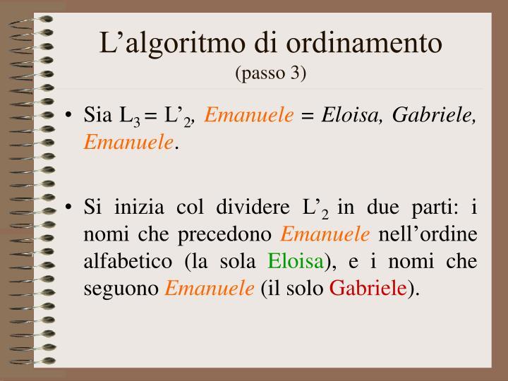 L'algoritmo di ordinamento
