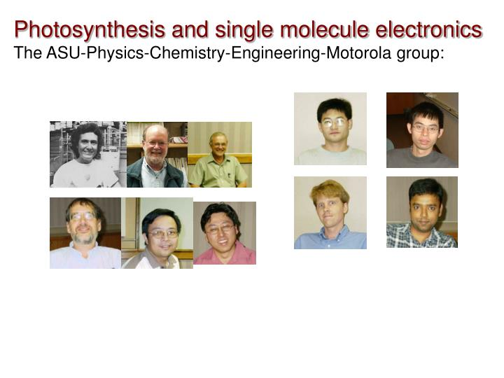Photosynthesis and single molecule electronics