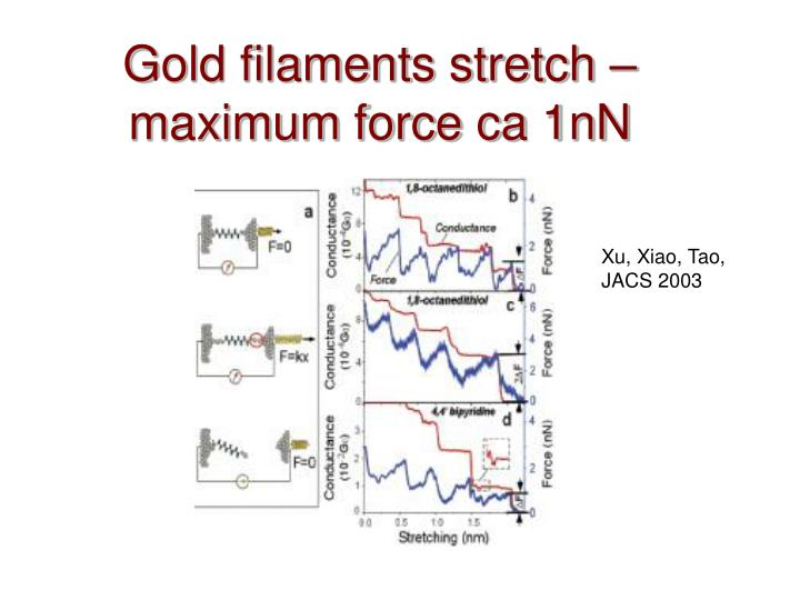 Gold filaments stretch – maximum force ca 1nN