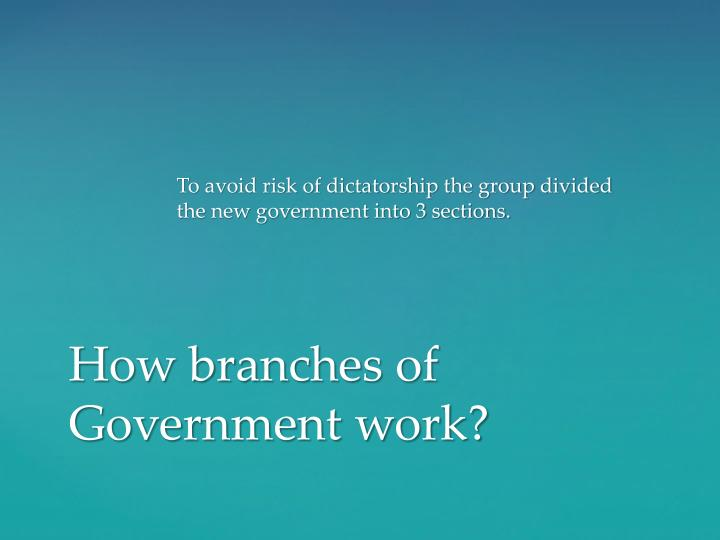 To avoid risk of dictatorship the group divided the new government into 3 sections.