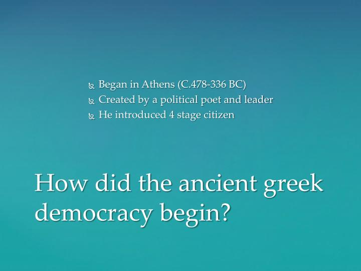 How did the ancient greek democracy begin