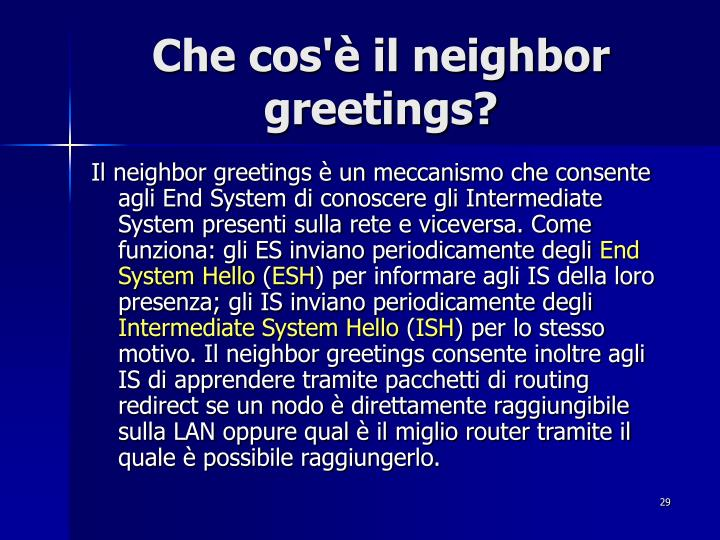 Che cos'è il neighbor greetings?