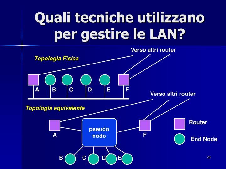Quali tecniche utilizzano per gestire le LAN?