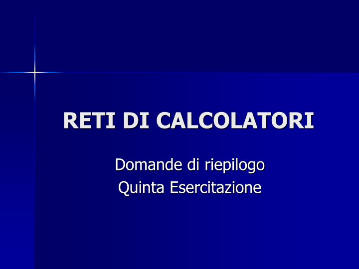 Reti di calcolatori