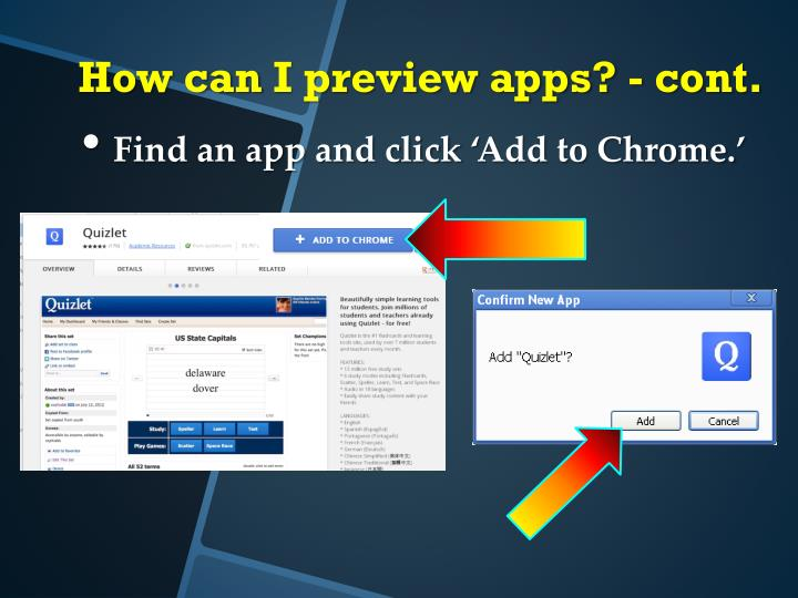 Find an app and click 'Add to Chrome.'
