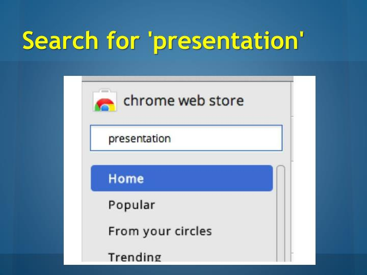 Search for 'presentation'