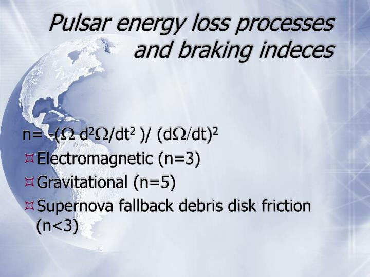Pulsar energy loss processes