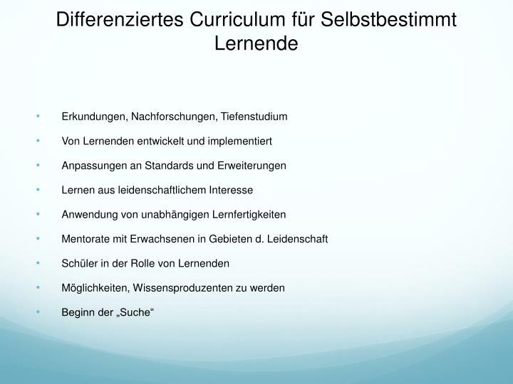 Differenziertes Curriculum für Selbstbestimmt Lernende
