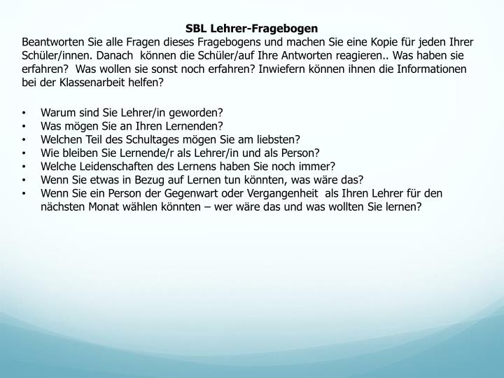 SBL Lehrer-Fragebogen