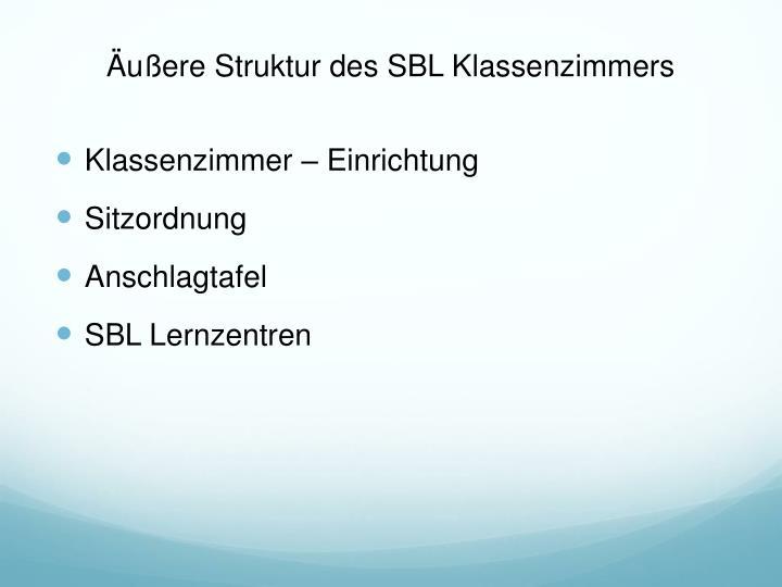 Äußere Struktur des SBL Klassenzimmers