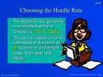 choosing the hurdle rate