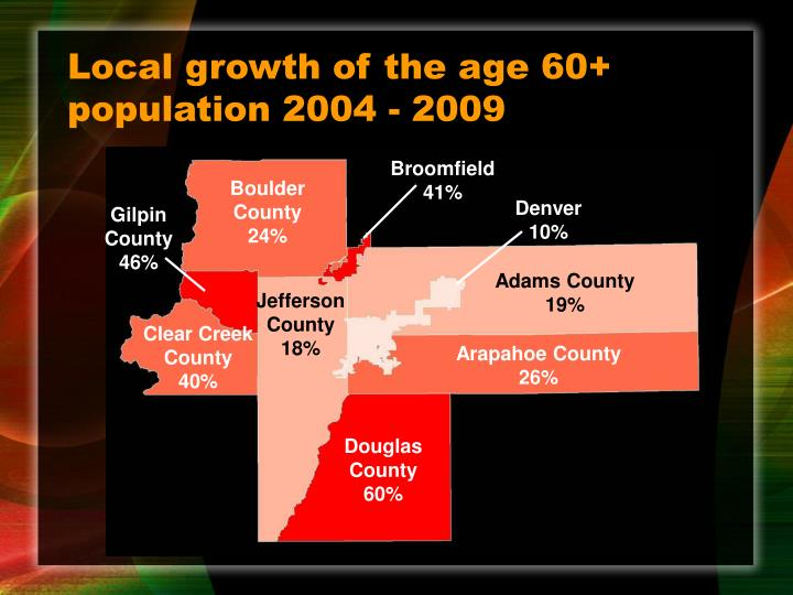 Local growth of the age 60+ population 2004 - 2009
