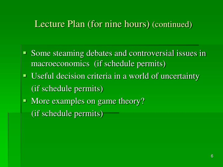 Lecture Plan (for nine hours)