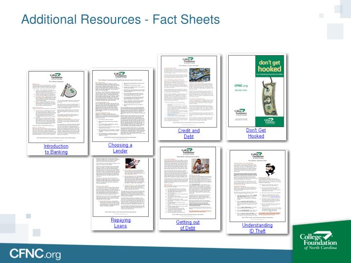 Additional Resources - Fact Sheets