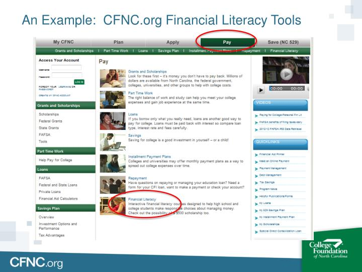 An Example:  CFNC.org Financial Literacy Tools
