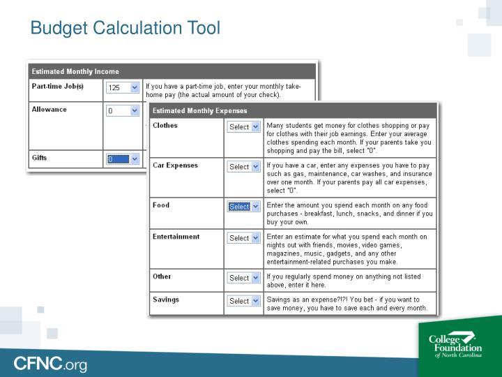 Budget Calculation Tool
