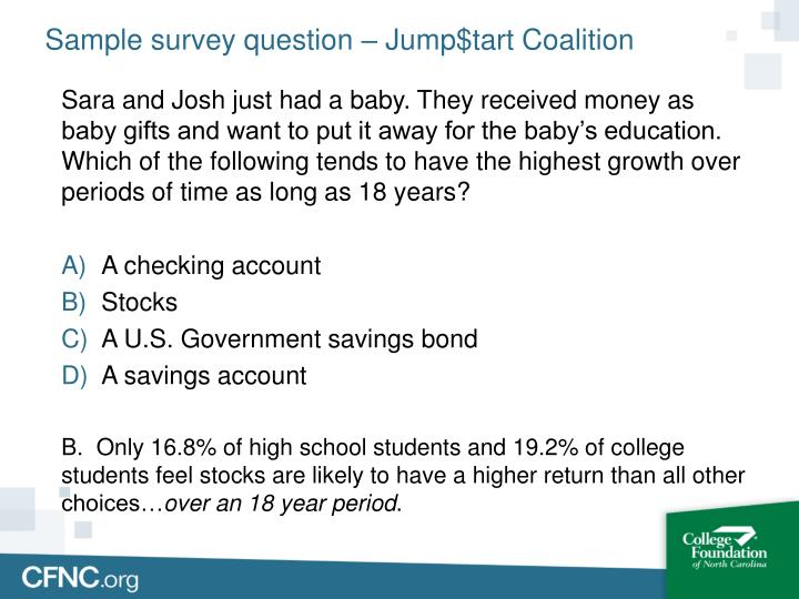 Sample survey question – Jump$tart Coalition