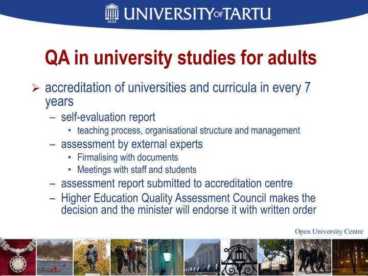 QA in university studies for adults