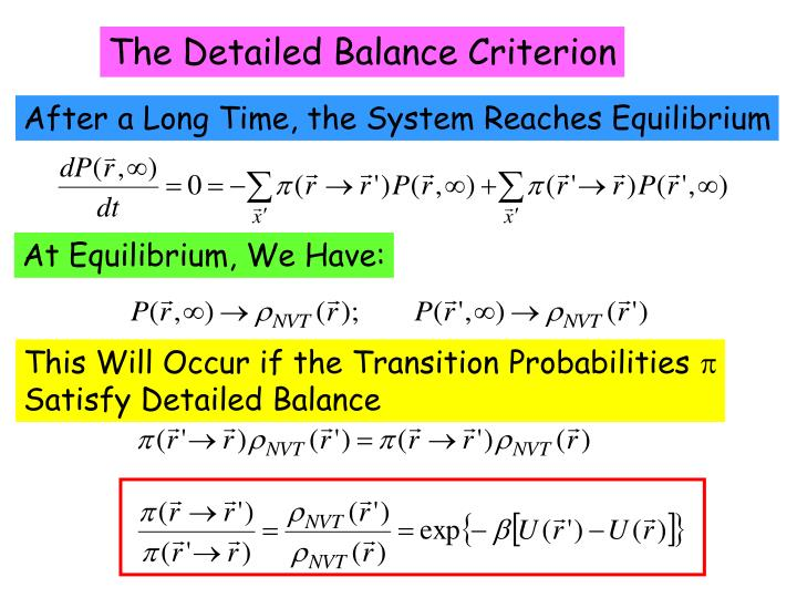 The Detailed Balance Criterion