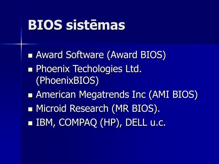 BIOS sistēmas