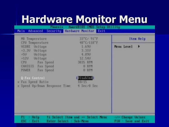 Hardware Monitor Menu