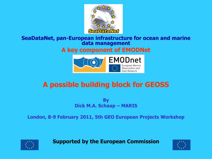SeaDataNet, pan-European infrastructure for ocean and marine data management