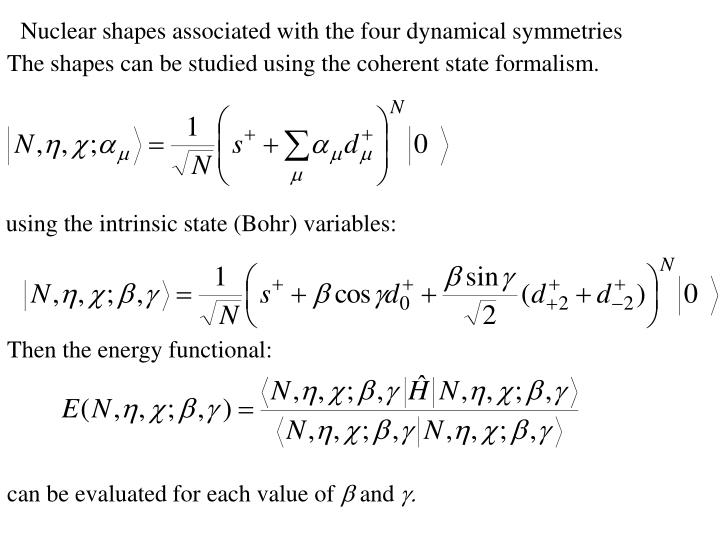 Nuclear shapes associated with the four dynamical symmetries