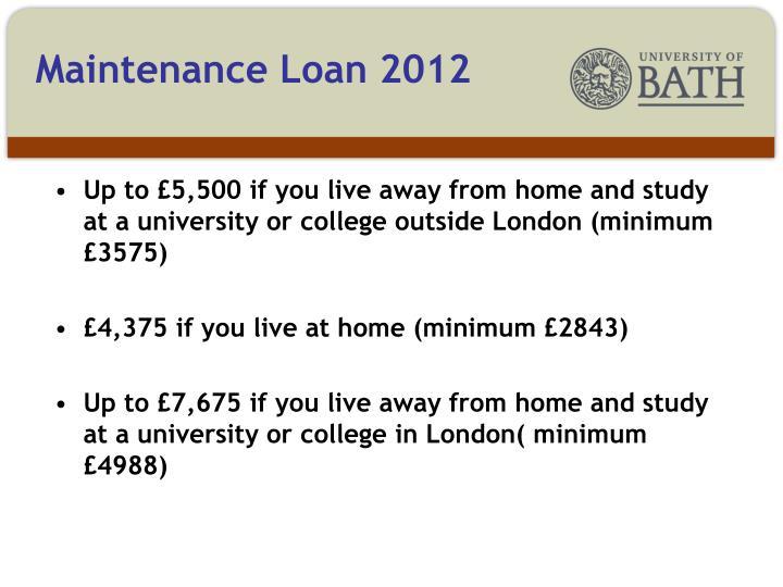 Maintenance Loan 2012