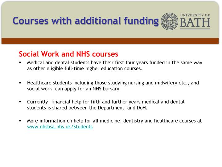 Courses with additional funding