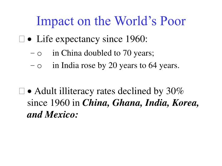 Impact on the World's Poor