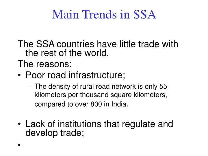 Main Trends in SSA