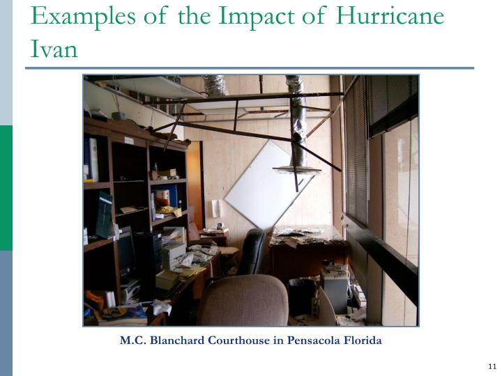Examples of the Impact of Hurricane Ivan
