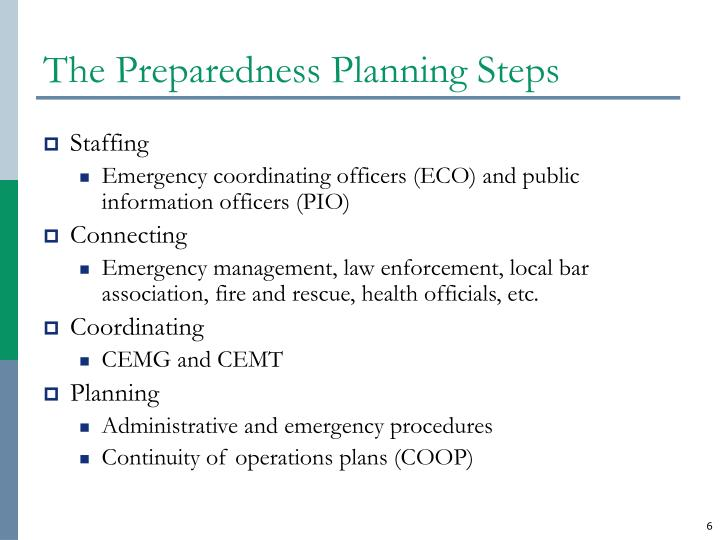 The Preparedness Planning Steps