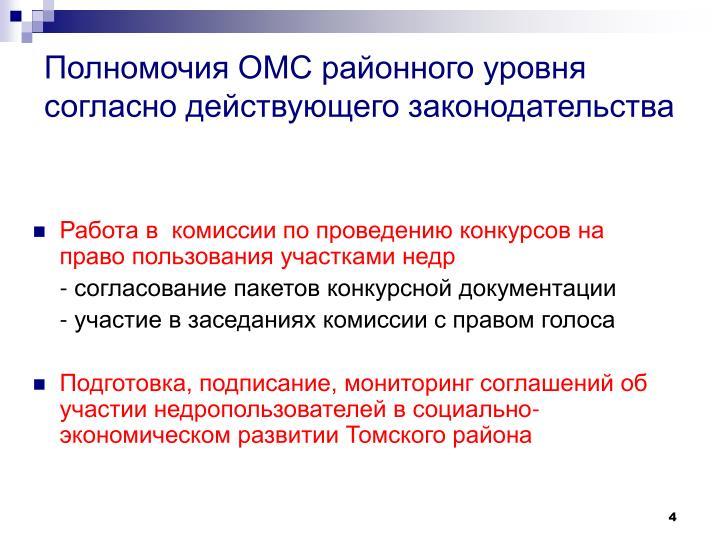 Полномочия ОМС районного уровня согласно действующего законодательства