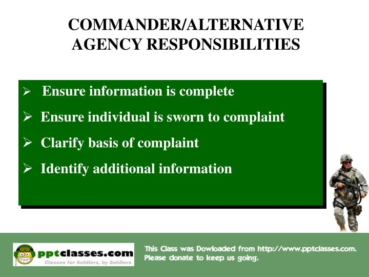 COMMANDER / ALTERNATIVE AGENCY