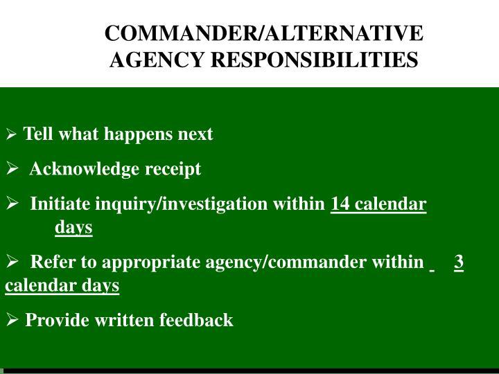 COMMANDER / ALTERNATIVE AGENCY