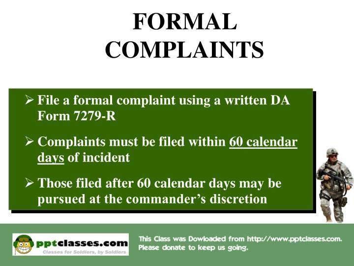 FORMAL COMPLAINTS