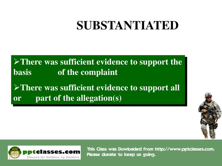 SUBSTANTIATED