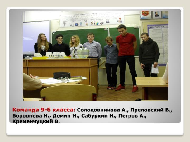 Команда 9-б класса:
