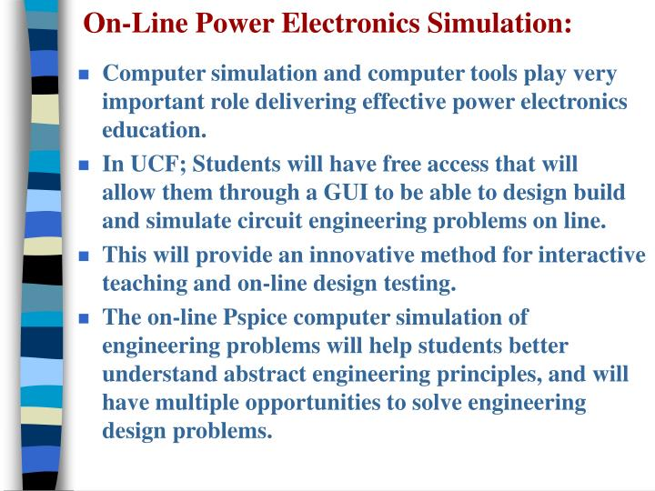 On-Line Power Electronics Simulation: