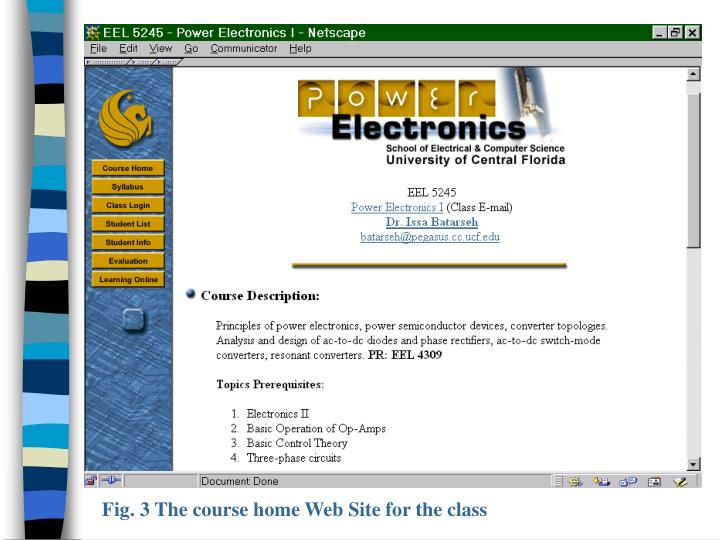 Fig. 3 The course home Web Site for the class
