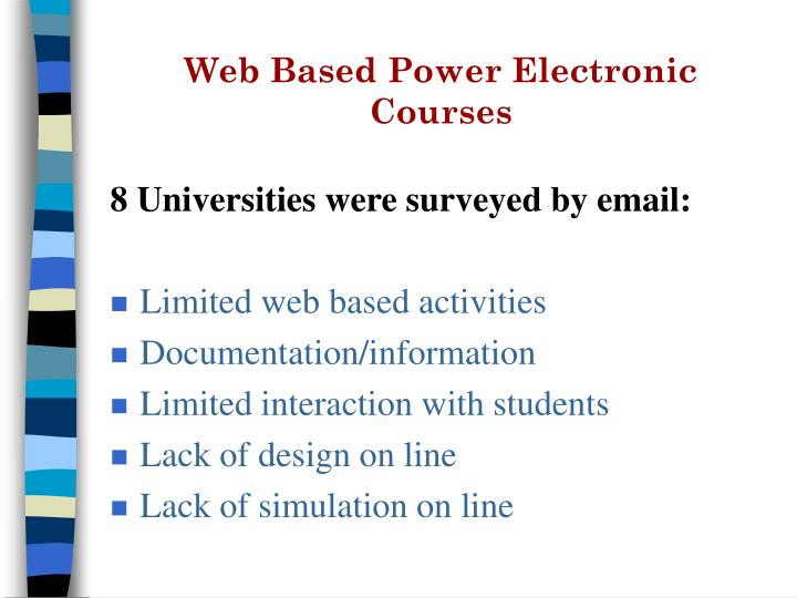 Web Based Power Electronic Courses