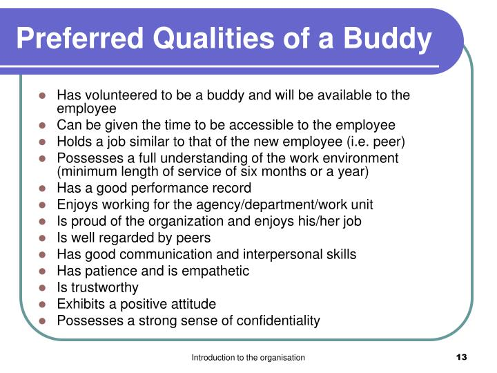Preferred Qualities of a Buddy