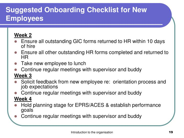 Suggested Onboarding Checklist for New Employees