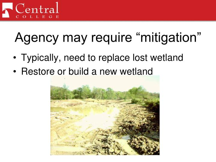"Agency may require ""mitigation"""