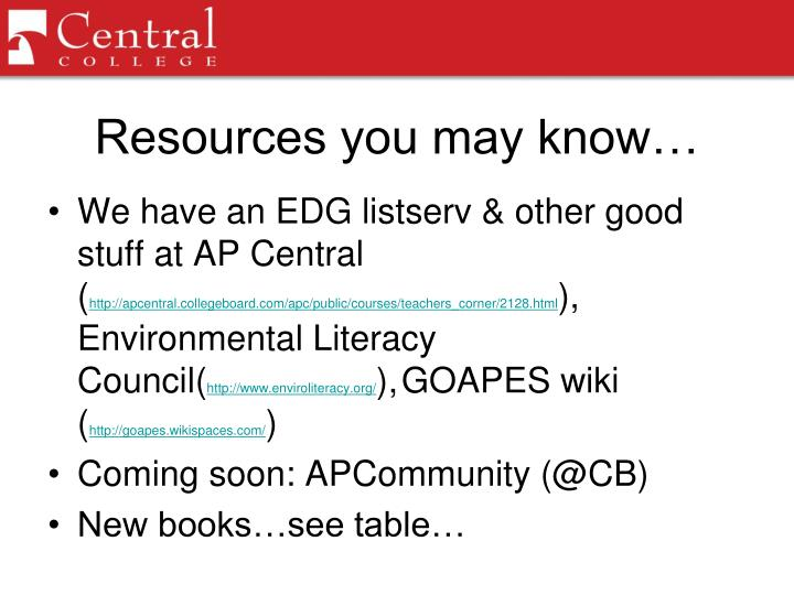 Resources you may know…